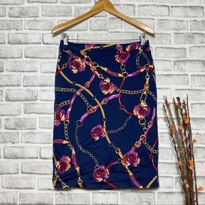 Charter club pink floral gold chain pencil Skirt 6